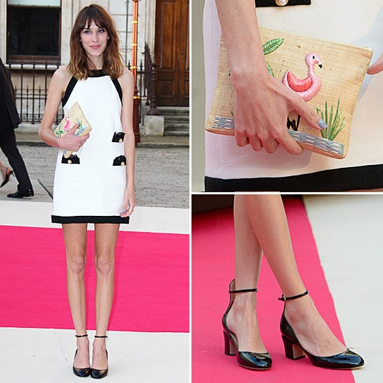 Alexa Chung Carrying An Adorable Charlotte Olympia Raffia Clutch At The Royal Academy's Summer Exhibition