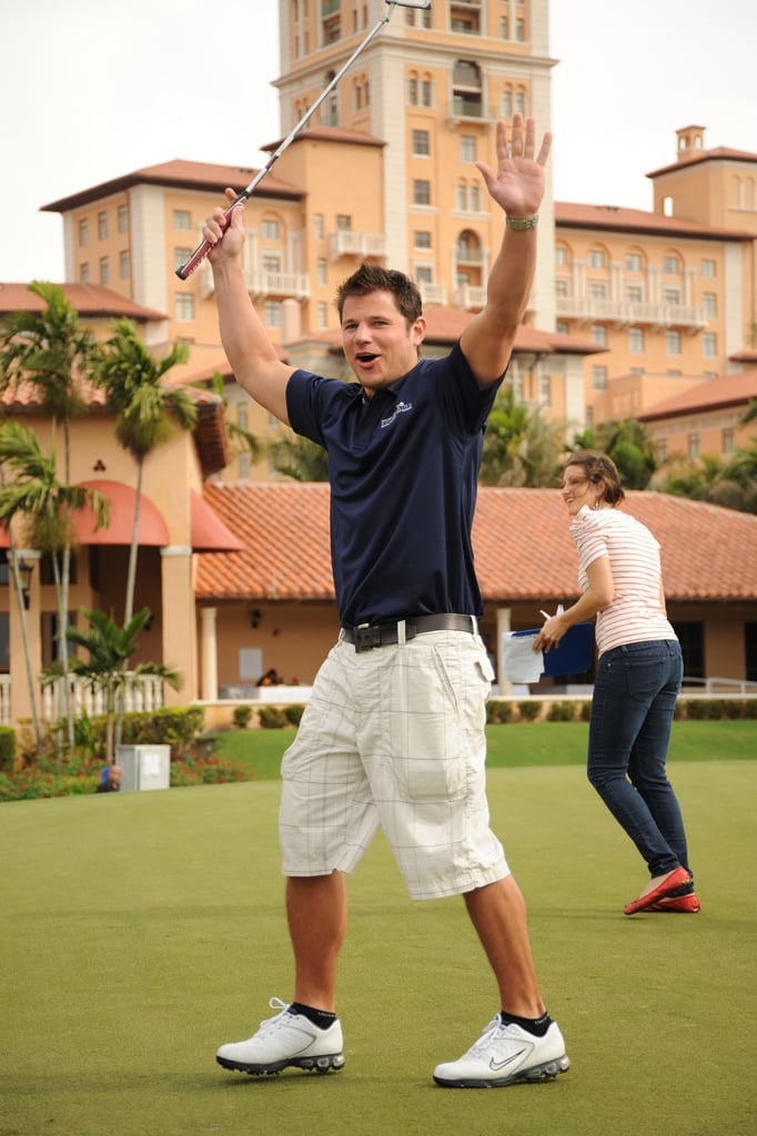 Nick Lachey got excited in February 2010 during his Super Skins Celebrity Golf Classic in Florida.