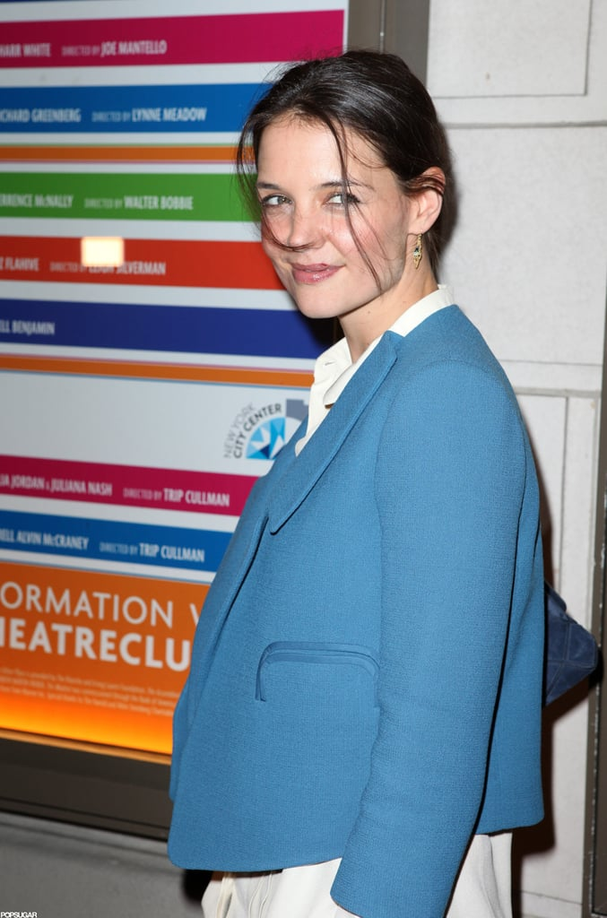 Katie Holmes looked happy to attend the opening night performance of The Other Side in NYC.