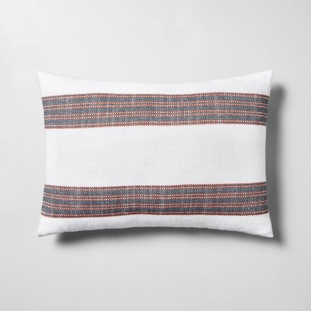 Striped Throw Pillow in Orange / Black