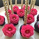 Black, Pink, and Gold Rose Cake Pops
