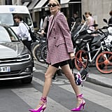 Style a Pink Plaid Blazer With Black Shorts and Pink Heels