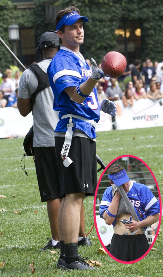 Matt Bomer Shows His Abs Playing Football in NYC Pictures