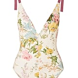 Zimmermann Heathers Grosgrain-Trimmed Floral-Print Swimsuit