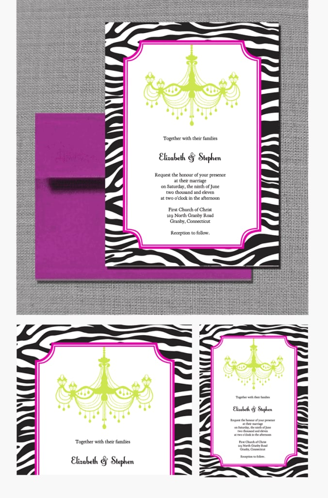 zebra-print and chandelier wedding invitation | free printable, Birthday invitations