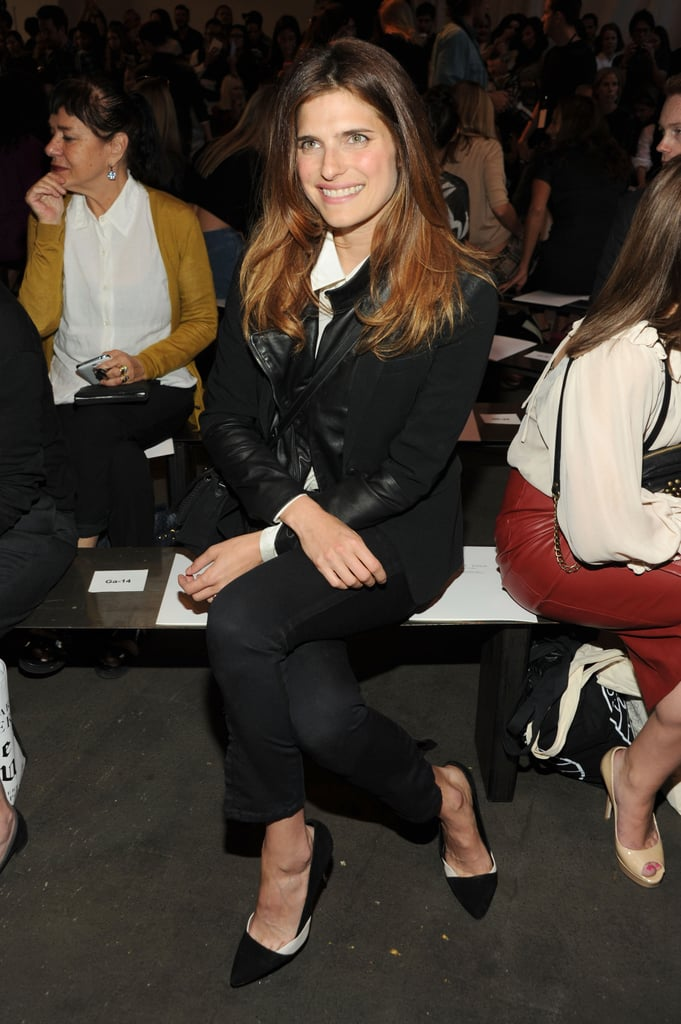Lake Bell sat front row for the Rag & Bone runway show on Friday.