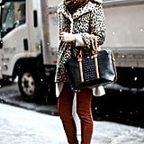 A leopard-print coat and a pair of Stella McCartney heels were the standouts in this street-style moment.