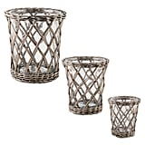 Small Willow-Wrapped Glass Hurricane Candle Holder