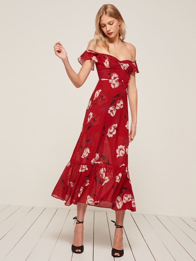 Reformation petites collection popsugar fashion for Mid length dresses for wedding guests