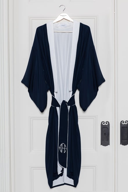Every mom deserves to feel pampered; this Emerson Fry Navy Silk Kimono ($495) is the perfect way to do it.