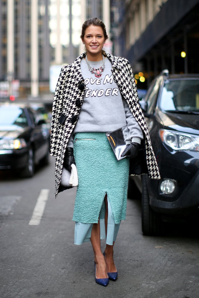 A Sweatshirt atop a pencil skirt is one of our favorite sartorial juxtapositions. If you've already mastered this combo, consider switching out your black or navy bottom for something more daring. We especially love this vivid blue for early Spring.