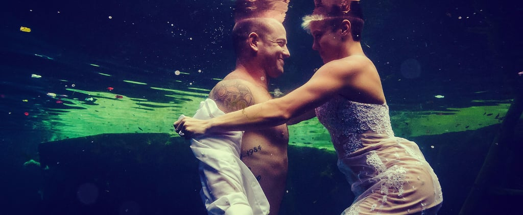 Underwater Trash-the-Wedding-Dress Shoot