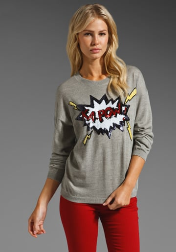 Cheeky sweaters with a little attitude are having a major moment this Fall, look to a cool iteration like this to give your staples some personality.  Markus Lupfer Ka Pow! Sequin Jumper ($433)