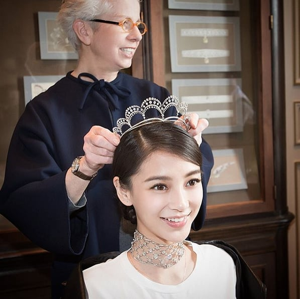 Angelababy Tried On Her Chaumet Tiara.