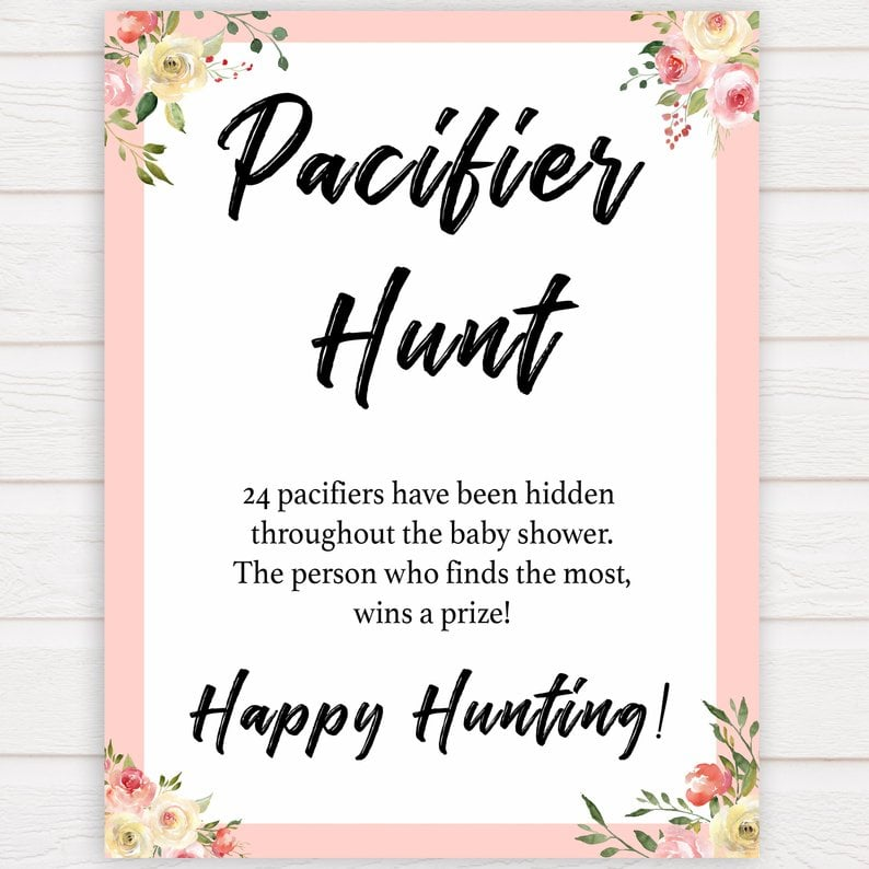 graphic about Printable Baby Shower called Pacifier Hunt Printable Little one Shower Sport Printable Youngster