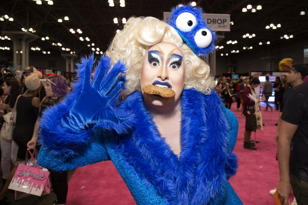 Sherry Pie drew inspiration from the Cookie Monster for her DragCon look.