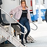 Jennifer Lopez in Juicy Couture on Hustlers Set 2019