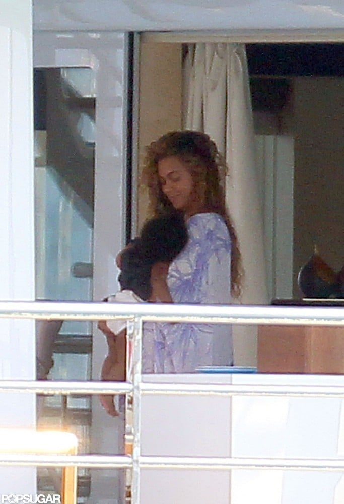 Shirtless Jay-Z Cuddles With Blue and Kisses Beyoncé in France