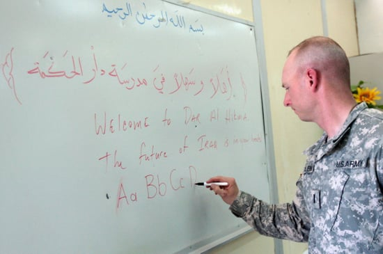 Study Abroad Sans the Glamour: Soldiers Take Classes in Iraq