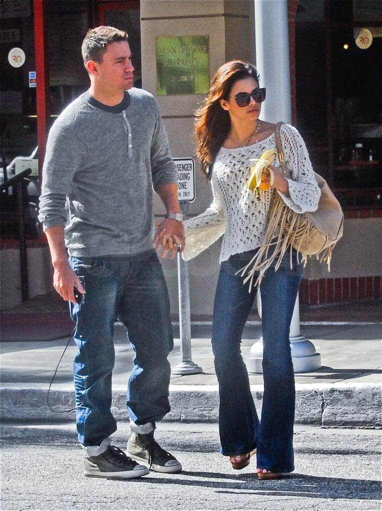 Channing Tatum and Jenna Dewan showed their love during an afternoon out in LA yesterday. Channing is back on the West Coast after a trip to NYC, where he was busy promoting 21 Jump Street alongside costar Jonah Hill. Channing and Jonah talked about becoming best friends during a stop by CBS This Morning after also sharing a few laughs during our interview with them — watch Channing and Jonah talk pranks and high school fun now! Jonah stayed behind in the Big Apple since he's hosting Saturday Night Live this weekend. If Jonah's SNL promos with Bill Hader are any indication, it's going to be a hilarious show.