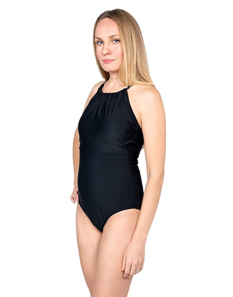 Oceanlily Breastfeeding Nursing One Piece Swimsuit Black
