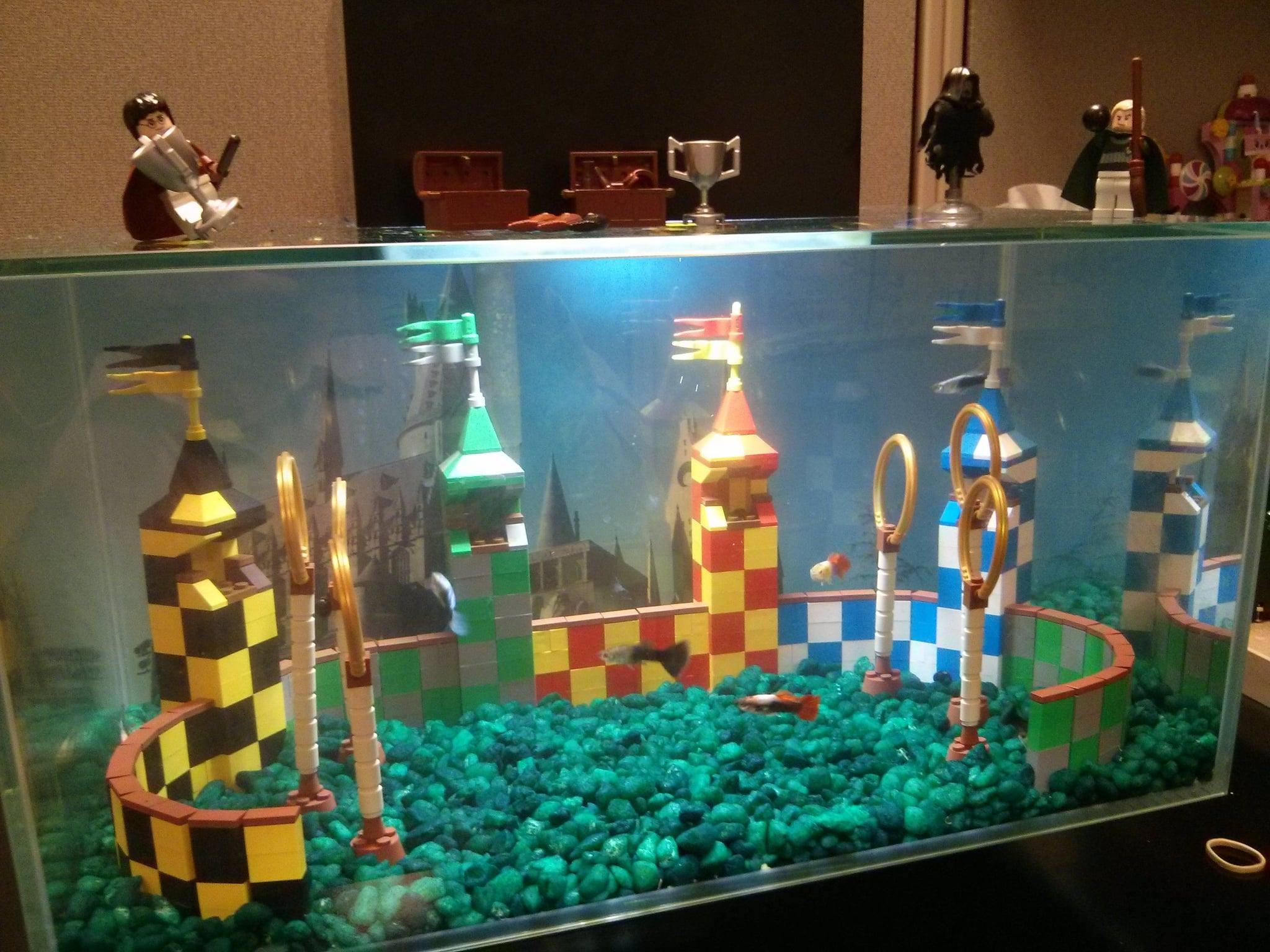 """""""My Lego Quidditch Aquarium at my Office."""" Source: Reddit user kst8er via Imgur"""