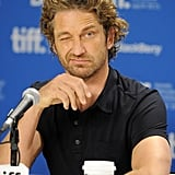 Gerard Butler makes a priceless face at the Coriolanus press conference during the festival.
