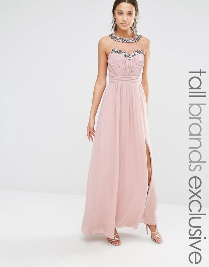fc5f0a24aa4 Little Mistress Tall Maxi Dress With Mesh and Embellishment Detail ...