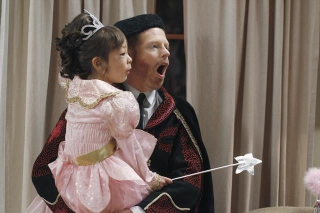 Lily dresses as a princess while Mitchell is a bullfighter on Modern Family's Halloween episode.