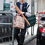 On Sunday, Olivier Martinez played into the French stereotype when he grabbed a baguette while grocery shopping in Beverly Hills.