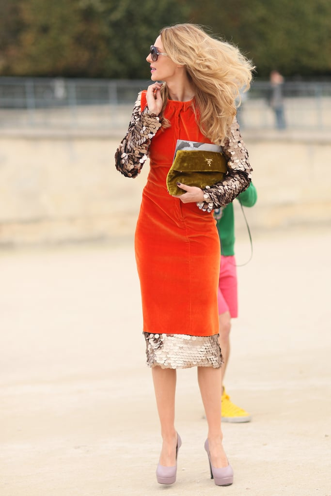 Paliettes and a brilliant fiery hue give this look the coolest kind of textural play.