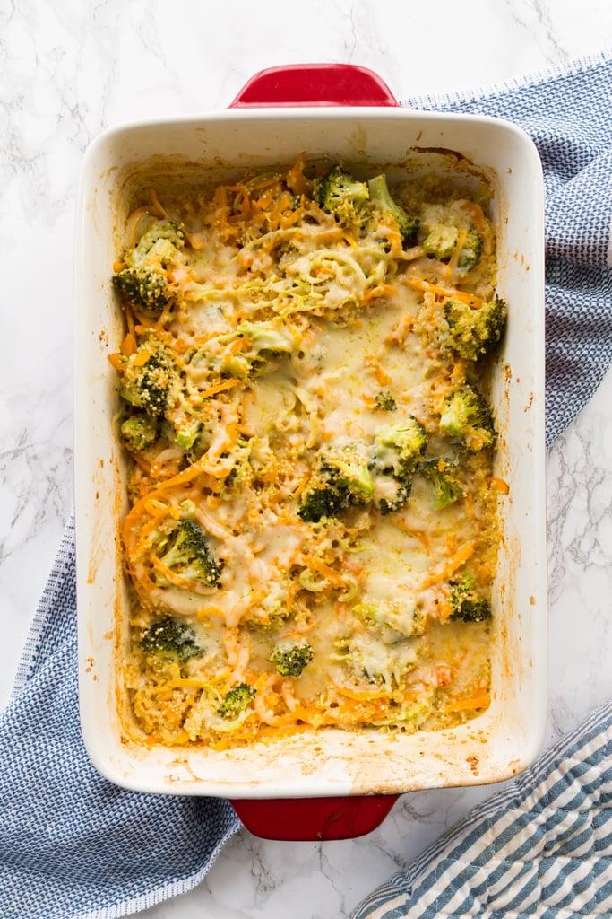 Cheesy Broccoli, Butternut Squash and Quinoa Casserole