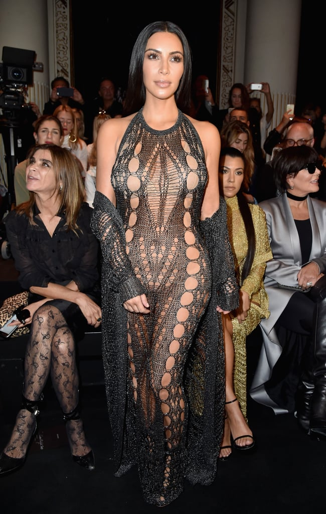 She wore this black naked dress at the Balmain show during Paris Fashion Week in 2017.