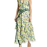 Tanya Taylor Angie Abstract Print Pleated Midi Dress