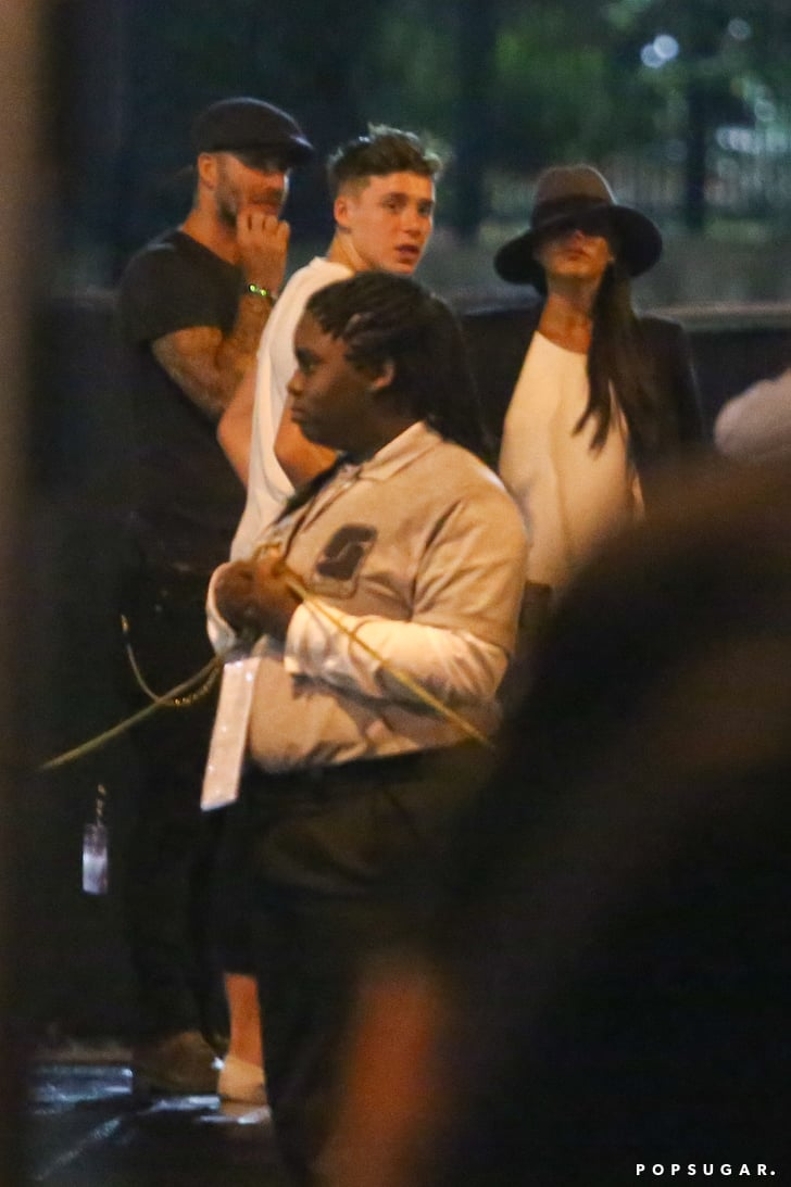 Victoria Beckham brought David and Brooklyn Beckham to the concert on Saturday.