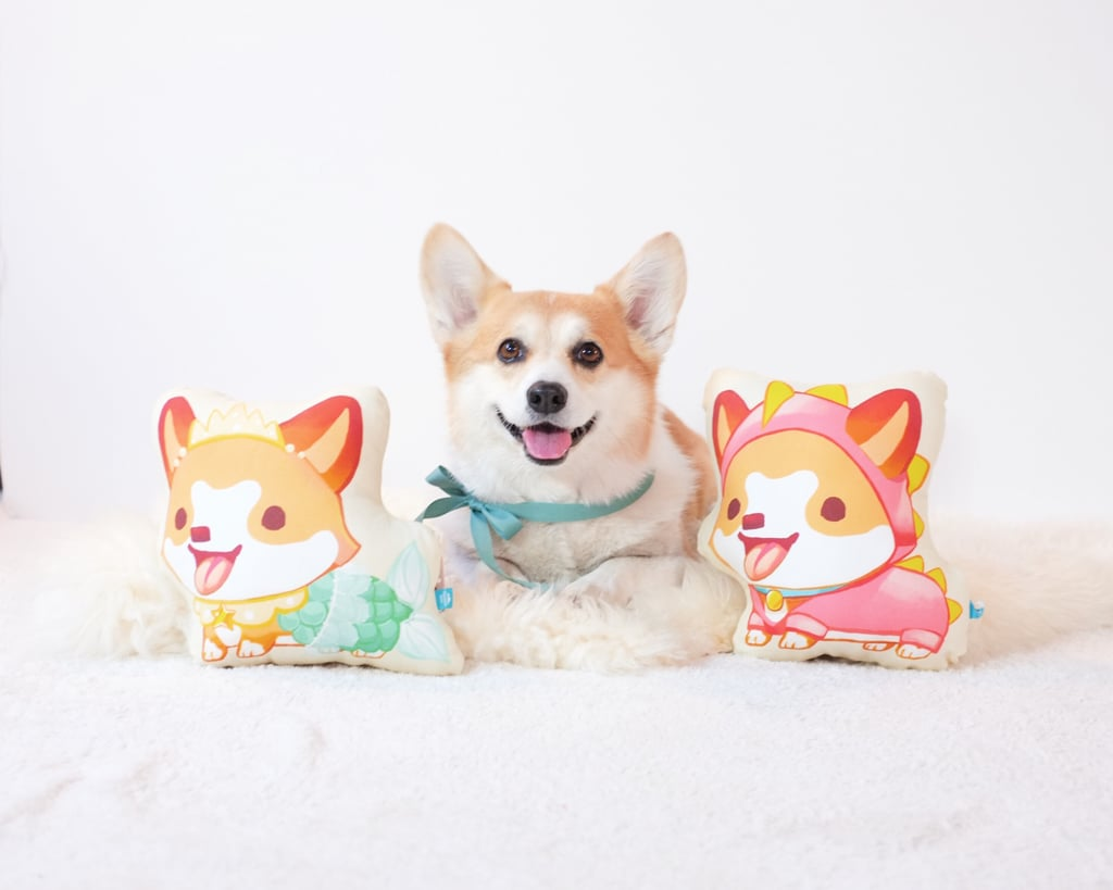 Thousand Skies Corgi Pillow: MerCorg and Dinosaur