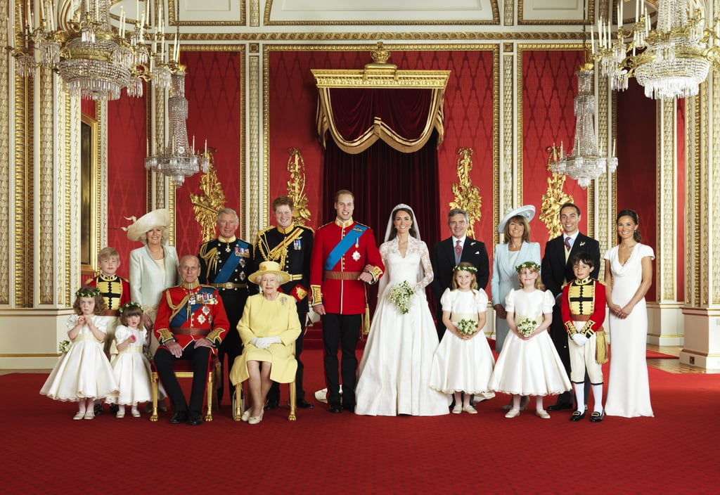 The Duke and Duchess of Cambridge, Prince William and Kate Middleton, posed with their immediate families and wedding party for this official portraits in the throne room at Buckingham Palace yesterday. The photos were taken by Hugo Burnand and included in the picture from left to right in the front, Miss Grace van Cutsem, Miss Eliza Lopes, her majesty The Queen, The Hon. Margarita Armstrong-Jones, Lady Louise Windsor, and Master William Lowther-Pinkerton. In the back, Master Tom Pettifer, HRH Camilla, Duchess of Cornwall, Prince Charles, Prince of Wales, HRH Prince Harry of Wales, Michael Middleton, Michael Middleton, James Middleton, and Philippa Middleton. It was a day full of celebrations for the newlyweds, who exchanged their I dos in a morning ceremony, followed by their receptions. This morning, Kate and William were whisked away by helicopter to a secret weekend destination, though it's not their official honeymoon just yet. In case you missed any of the action yesterday, check out all the best royal wedding pictures and the most gorgeous moments of Kate Middleton's wedding dresses!