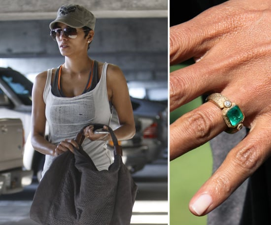Halle Berry started wearing an emerald engagement ring from fiancé Olivier Martinez in January. Olivier had friend Robert Mazlo create the ring made of a perfect emerald on a yellow-gold setting featuring symbols important to the couple.