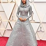 Janelle Monae Silver Cape Ralph Lauren Dress at Oscars 2020