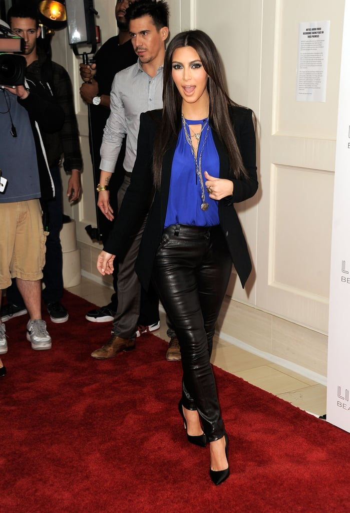 Kim Kardashian arrived at the True Reflection fragrance launch.