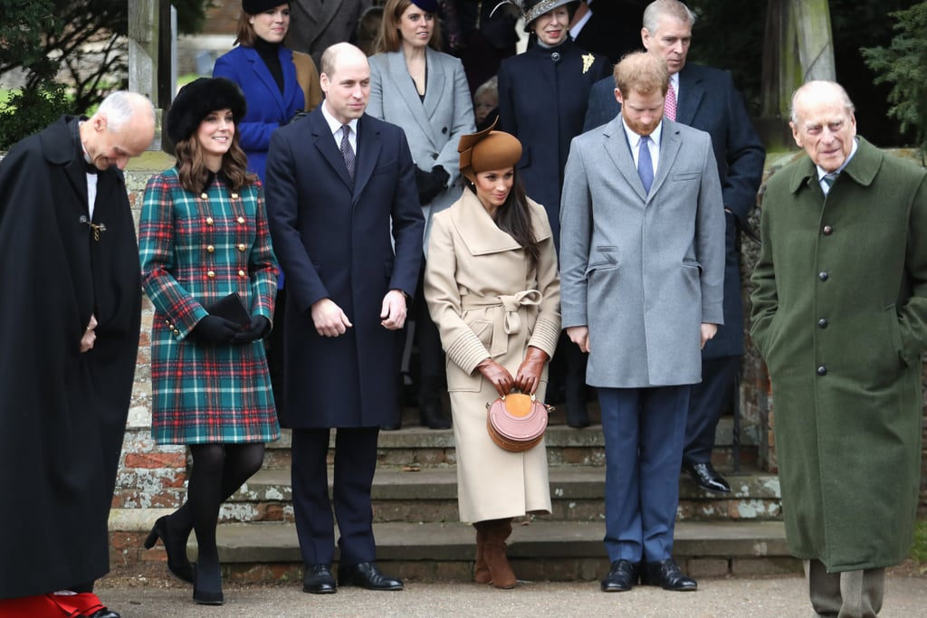 The British royal family has a number of festive traditions, one of which is attending a Christmas Day service at St. Mary Magdalene Church, a stone's throw from the queen's home at Sandringham Estate. Each year, the whole family (save for the queen, who drives) walk to the church, giving us a glimpse of generations of our favorite royals.  This year, many people were excited to see Prince Harry's fiancée, Meghan Markle, join the group, though it was her first appearance with Kate Middleton that had everyone talking. Alongside Meghan and the Duchess of Cambridge were Prince William and Prince Harry, in addition to Queen Elizabeth, Prince Phillip, Prince Charles, Camilla, and more. It looks like Prince George and Princess Charlotte stayed home this year, with the prince saving his now-famous facial expressions for the royal family's traditional Christmas dinner. See all the photos of those royal arrivals ahead.