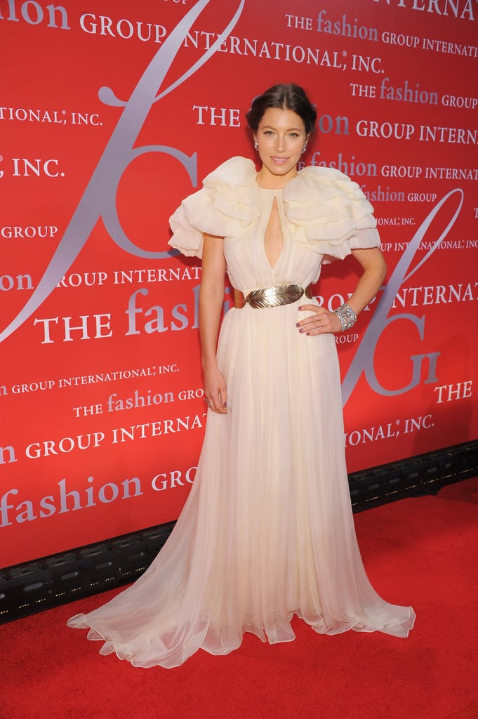 Jessica Biel dressed up in a Giambattista Valli gown with huge pouf sleeves for Fashion Group International's 28th Annual Night of Stars at Cipriani Wall Street in NYC last night. Giambattista, Macy's collection just debuted Wednesday, joined Jessica on the red carpet, which also brought out a Jil Sander-clad Leelee Sobieski, newlyweds Lauren Bush and David Lauren, and heiress Daphne Guinness. It was Jessica's second evening out on the town in a row, since she joined on-again boyfriend Justin Timberlake Wednesday for an event. Jessica Biel and Justin Timberlake cuddled during a bash celebrating the redesign of his Southern Hospitality restaurant. JT and Jess were pictured getting close on a banquette that they shared with friends like Elton John and David Furnish.  The socializing may cease soon for Jessica if she nabs a role that she's in the running for. Jessica Biel could be in Burt Wonderstone, an upcoming comedy featuring Steve Carell and Jim Carrey as rival magicians, but other actresses like Olivia Wilde and Michelle Monaghan could also get the part.