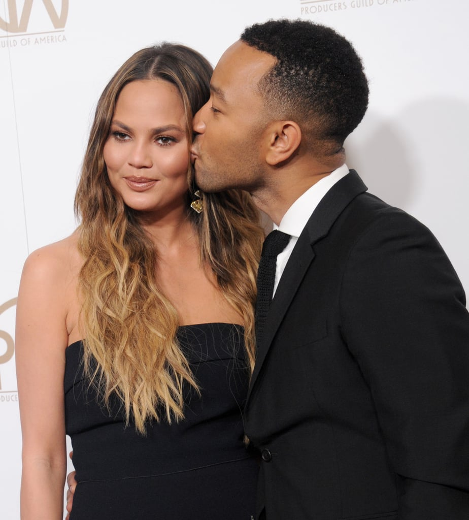 "Chrissy Teigen and John Legend continued to flaunt their enviable romance when they popped up at the Producers Guild Awards in Beverly Hills on Saturday night. John kissed Chrissy on the cheek on the red carpet before stepping aside and letting Chrissy have her moment in the spotlight. Once inside, John took the stage to introduce La La Land, but before that, he responded to Donald Trump's ban on refugees, saying, ""I won't pretend that La La Land is a political film, but I do want to take a second to talk about what's happening in our country right now. This is a film about love, about dreams and about this lovely city we call home, Los Angeles, California.""  He continued, ""Los Angeles is the home of so many immigrants, so many creative people, so many dreamers, and those of us who work in this business have the privilege of shaping how the world perceives this country we love . . . Our America is big, it is free, and it is open to dreamers of all races, all countries, all religions. Our vision of America is directly antithetical to that of President Trump. And I want to specifically tonight reject his vision and affirm that America has to be better than that."" Well said, John.       Related:                                                                Chrissy Teigen Had a Racist Encounter With Paparazzi, and Her Fans Are Not Having It                                                                   John Legend Addresses His Racist Encounter With Paparazzi: ""It's a Shame That Still Exists"""