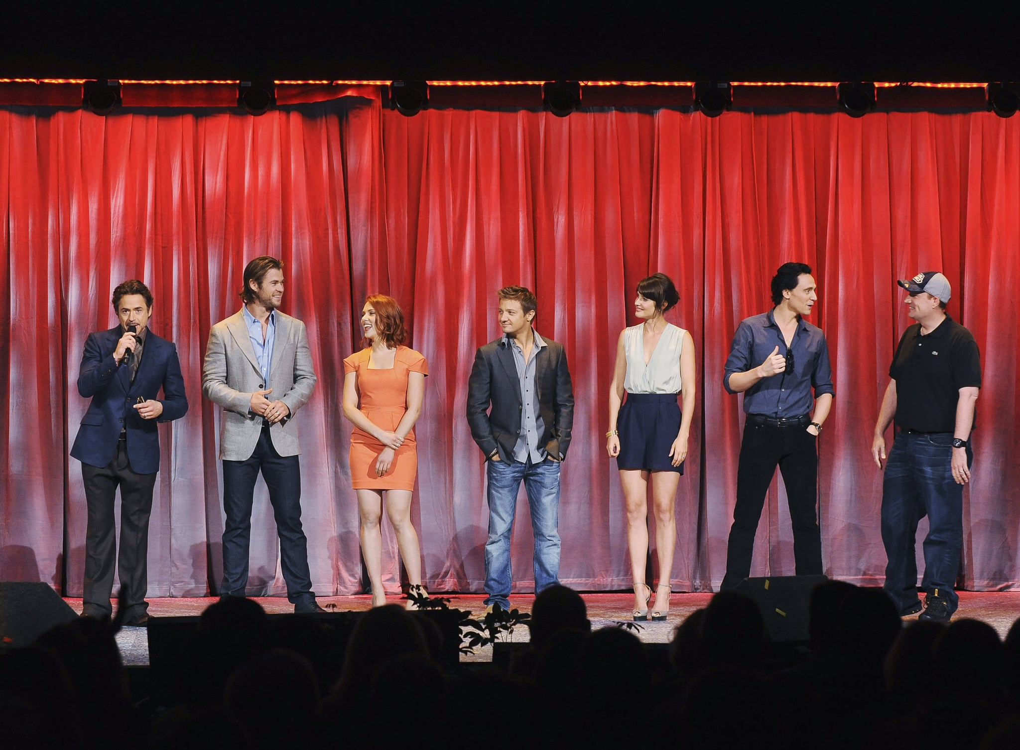 The Avengers cast and producers take the D23 stage.