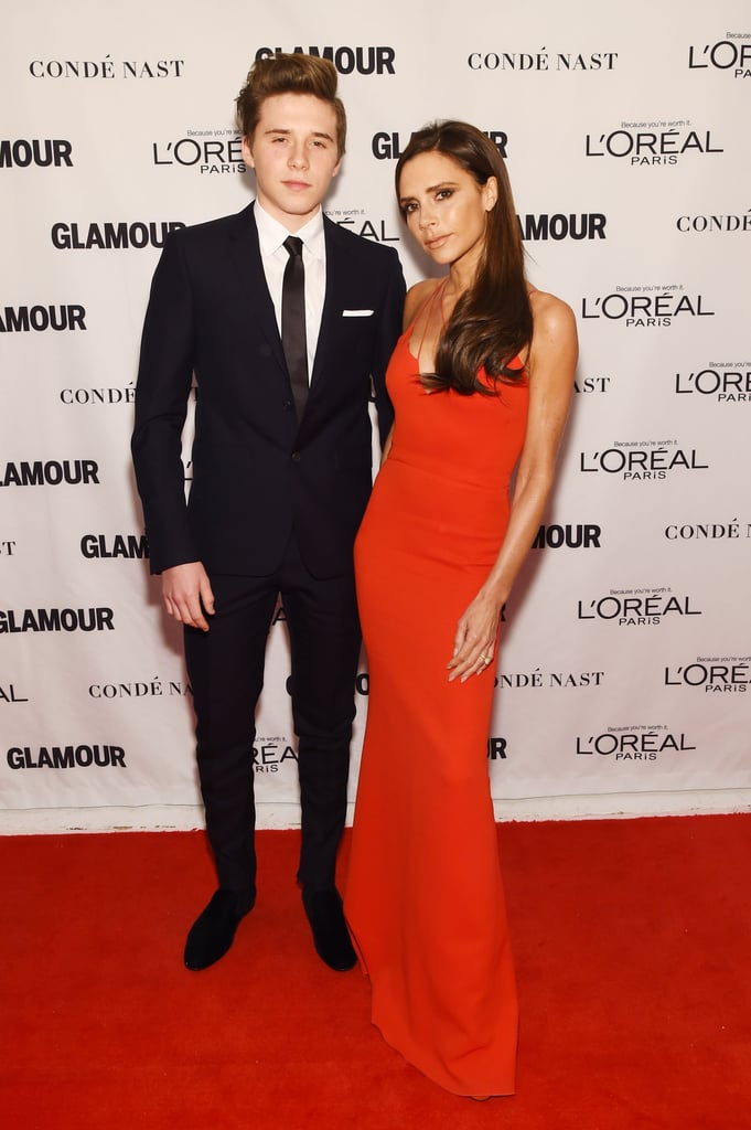 "Victoria Beckham may have had the best date ever at the Glamour Women of the Year Awards in New York on Monday night. The designer walked the red carpet with her 16-year-old son, Brooklyn, and the handsome teen showed off a dapper look next to his stunning mum, who wore a strappy red gown. Brooklyn's appearance comes just a week after Victoria took his younger brothers, Romeo and Cruz, out on the town for a Burberry event in London.  Victoria was recognised at Glamour's annual ceremony for her work as a fashion designer and philanthropist, and joined other honourees Amy Schumer, Reese Witherspoon, and Caitlyn Jenner. Brooklyn took the stage to present his mum with her trophy, and the two shared an adorable hug to cement the moment. Earlier in the day, Victoria made an appearance on Good Morning America with the magazine's editor-in-chief, Cynthia Leive, to talk about the big honour, saying, ""It took me getting to 40 years old to realise I have a powerful voice."" Keep reading to see more photos from Victoria's big night, then check out all the moments that made you want to be a part of her family."