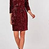 Dorothy Perkins Pink Velvet Sequin Bodycon Dress