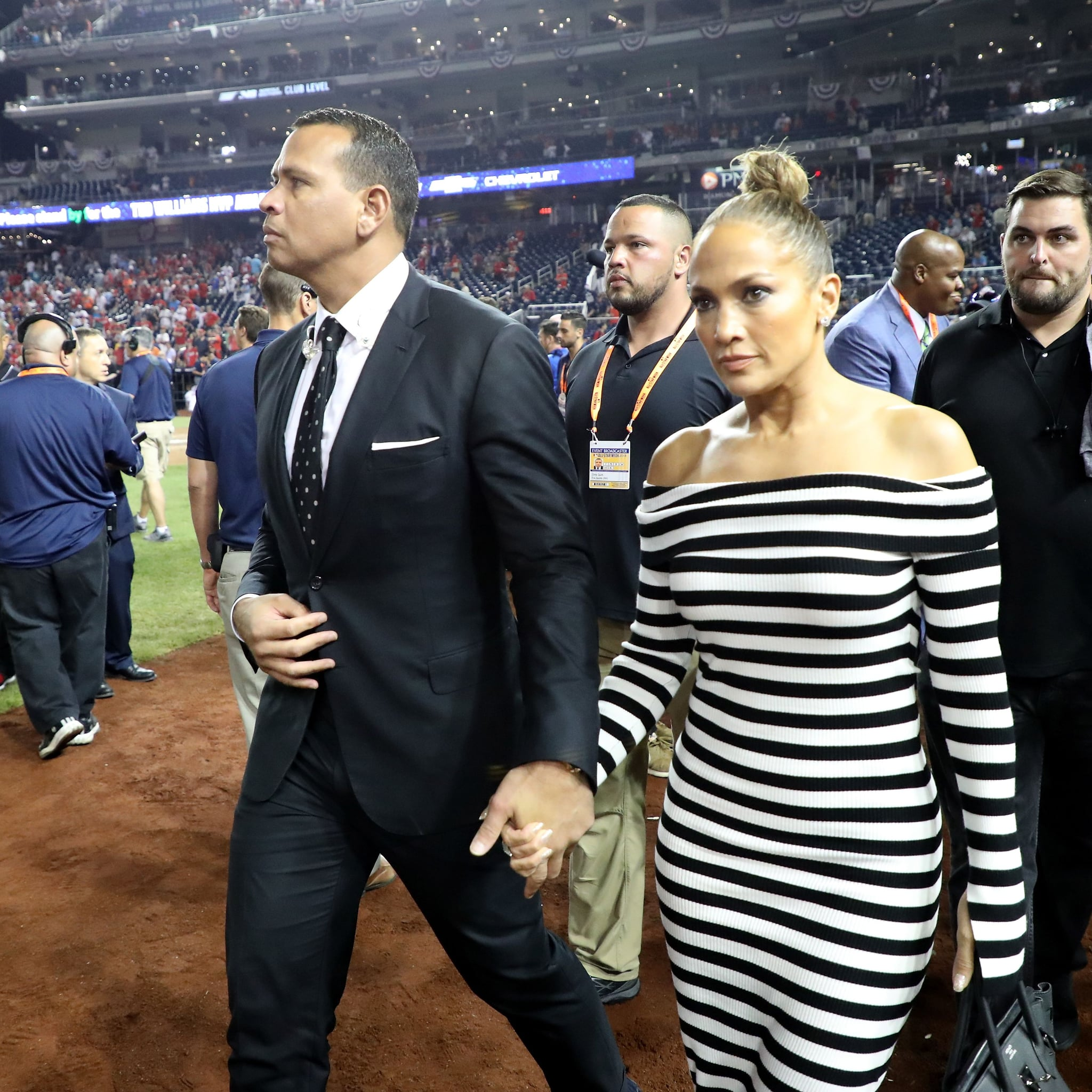 faec8a2d866 Jennifer Lopez s Striped Dress at Baseball Game 2018