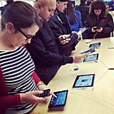 """#ipadmini launch day at the #apple store. Very light. Much nicer than #ipad. Good for videos."" — gavinmcgarry Source: Instagram user gavinmcgarry"
