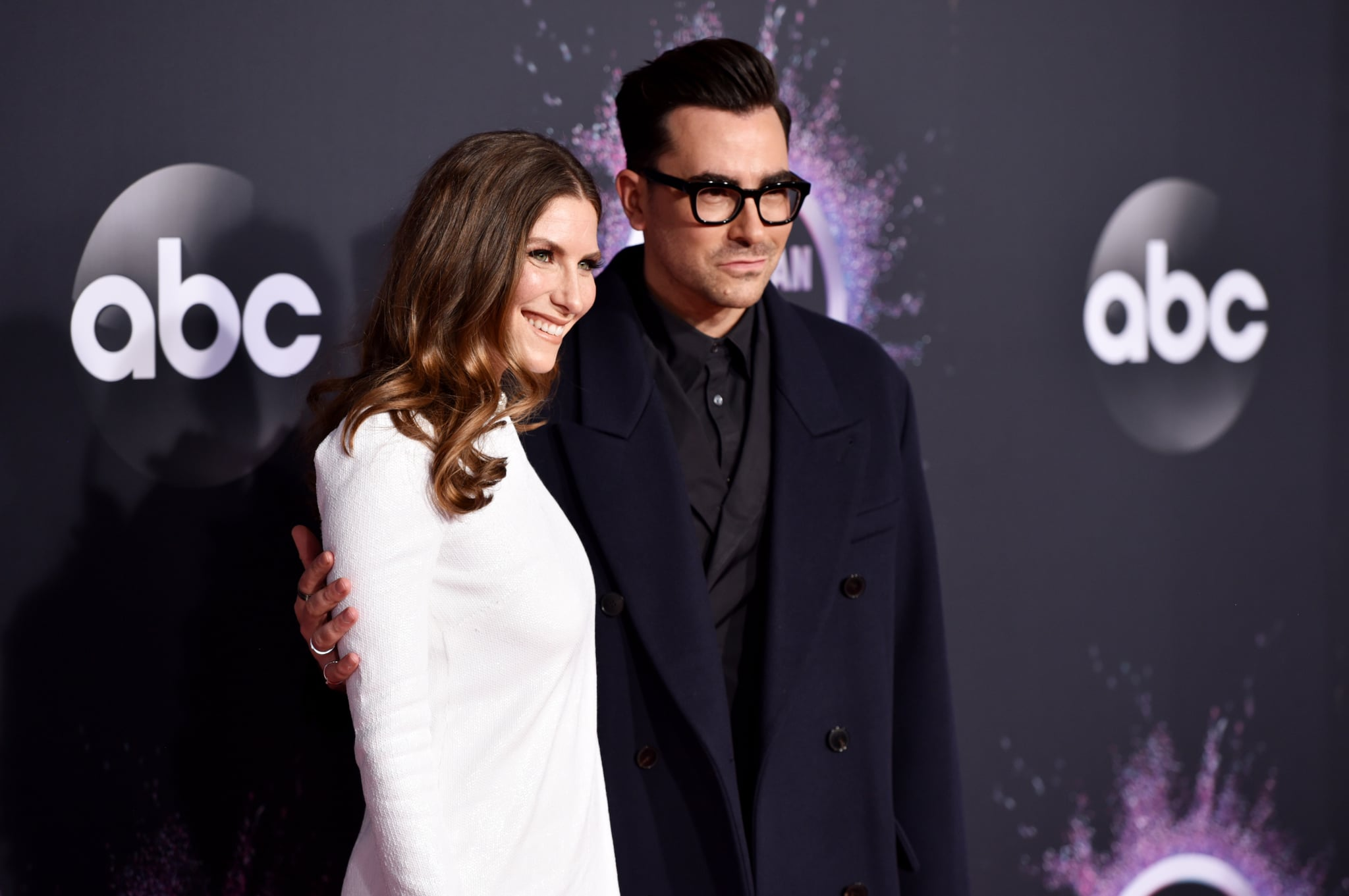 LOS ANGELES, CALIFORNIA - NOVEMBER 24: Sarah Levy and Dan Levy attend the 2019 American Music Awards at Microsoft Theatre on November 24, 2019 in Los Angeles, California. (Photo by John Shearer/Getty Images for dcp)