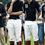 Prince William and Prince Harry got sweaty at a polo match in Gloucestershire in June 2003.